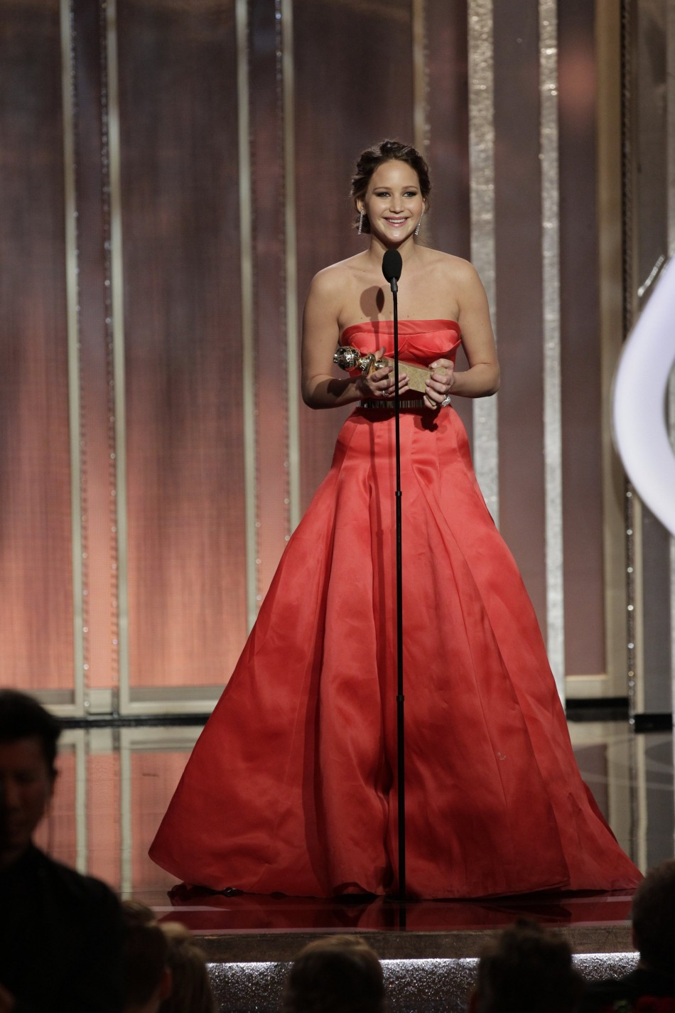 Jennifer Lawrence on stage at the 70th annual Golden Globe Awards in Beverly Hills