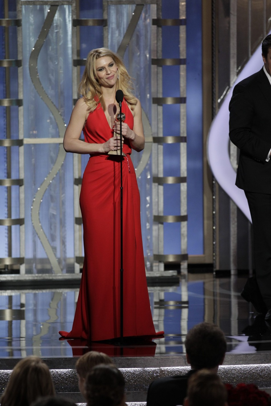 Claire Danes accepts the award for Best Actress - TV Series, Drama, for Homeland on stage at the Golden Globe Awards in Beverly Hills