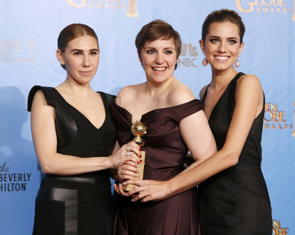 Girls creator and actress Dunham with cast members Williams and Mamet after Girls won award for Best Televison Series, Comedy or Musical at 70th annual Golden Globe Awards in Beverly Hills