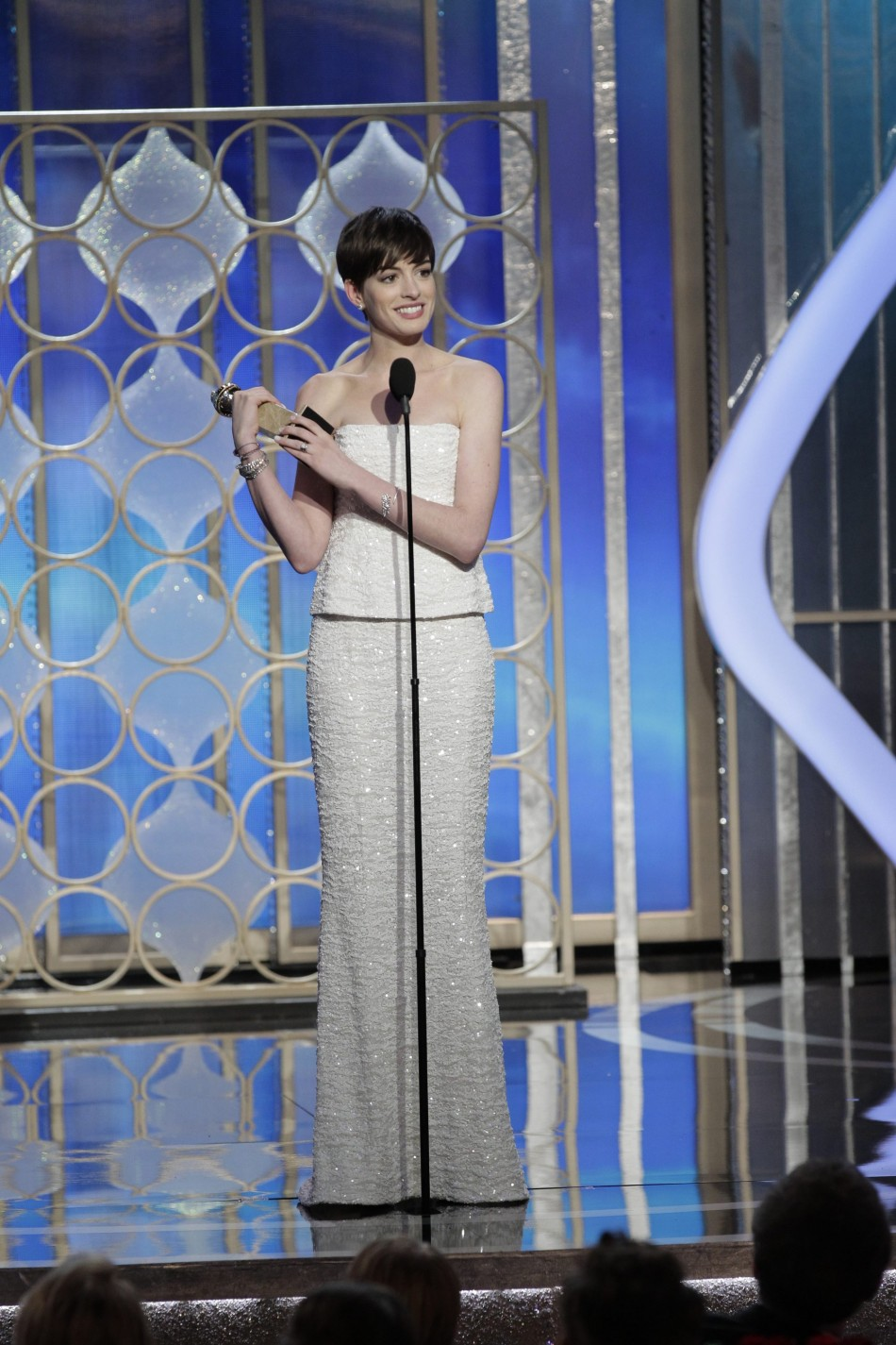Anne Hathaway on stage at the Golden Globe Awards in Beverly Hills