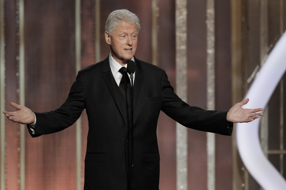 Presenter Bill Clinton on stage at the 70th annual Golden Globe Awards in Beverly Hills