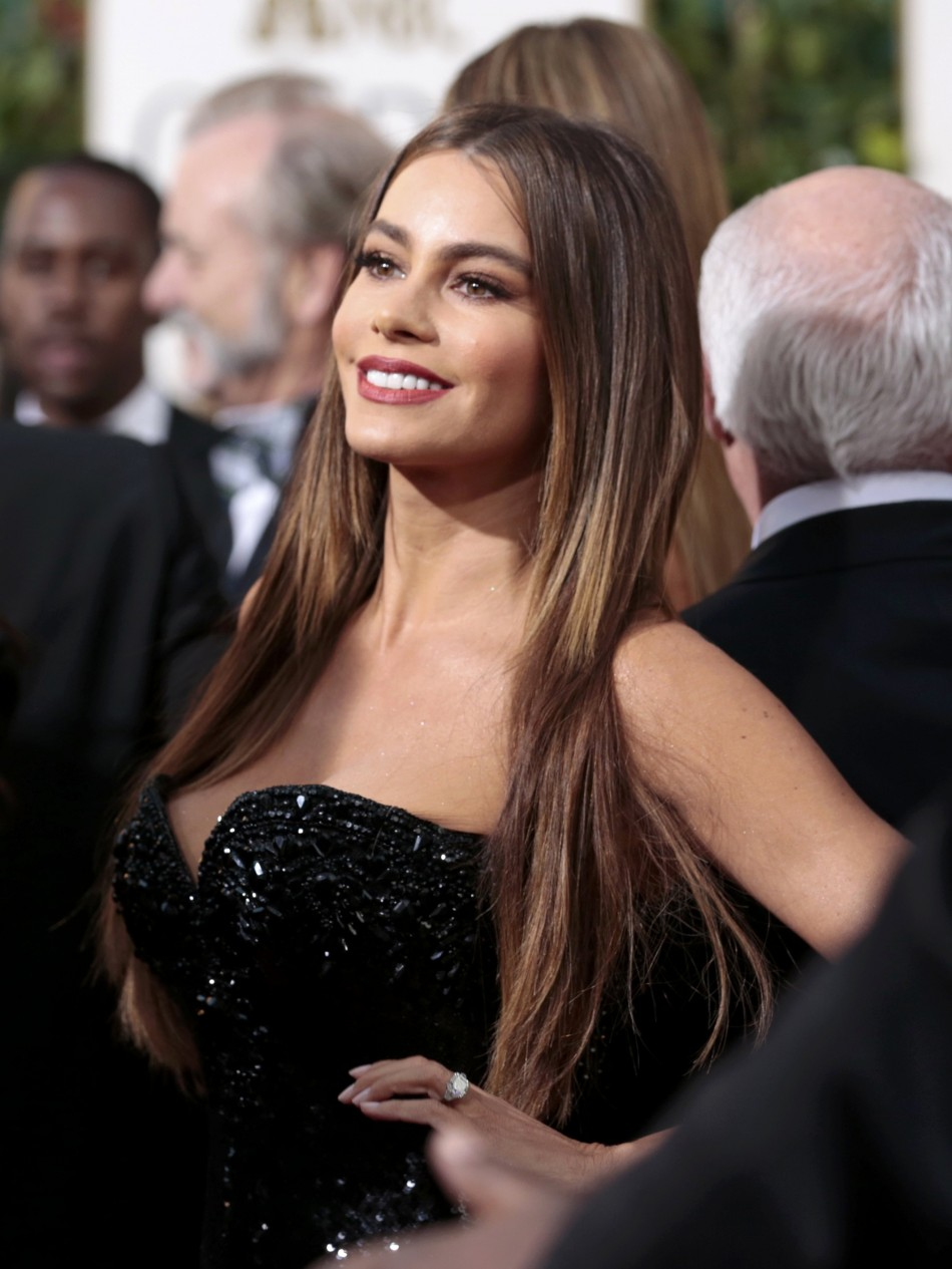 Actress Sofia Vergara of the TV comedy Modern Family at the 70th annual Golden Globe Awards in Beverly Hills