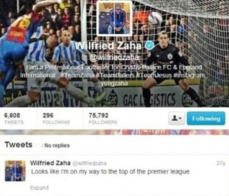 Wilfried Zaha tweet