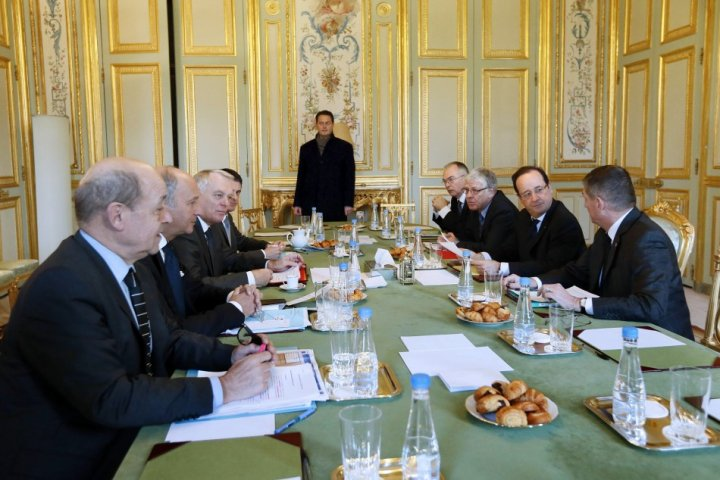 France's President Hollande presides over a meeting on the Malian situation at the Elysee Palace in Paris