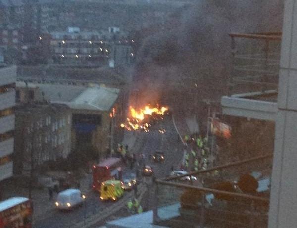 Burning wreck of chopper PIC: @craiglet