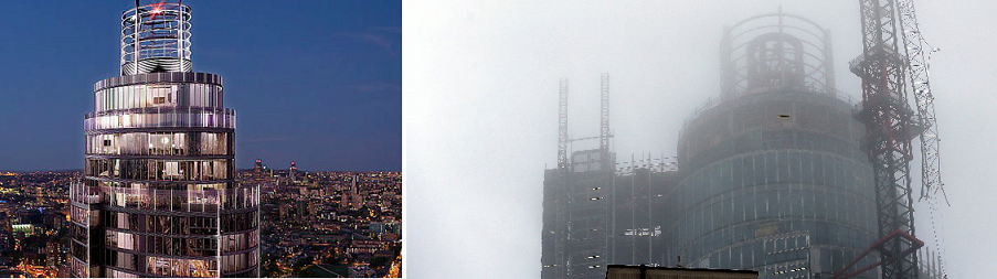The Tower in brochure (l) and in misty weather