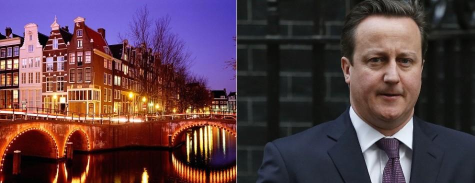 Amsterdam under lights (l) Cameron poised for keynote speech