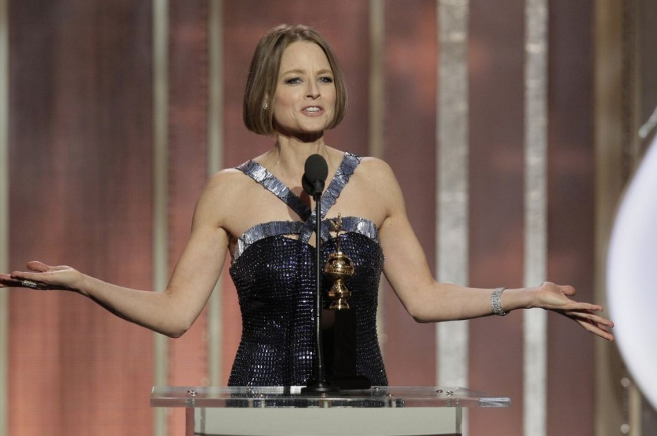 Actress Jodie Foster speaks as she accepts the Cecil B. Demille Award at the Golden Globe Awards in Beverly Hills