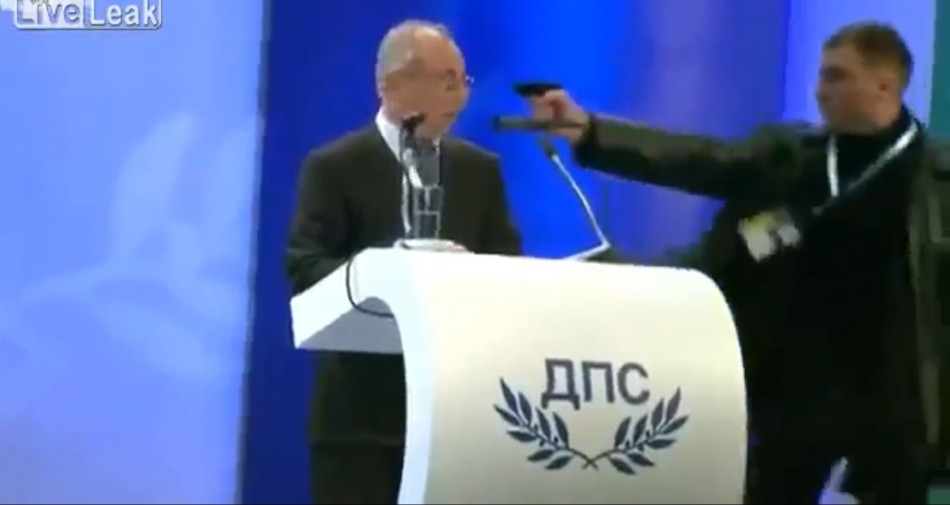 Gunman attempts to shoot Bulgarian politician Ahmed Dogan on live TV.