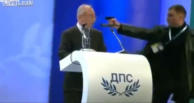 Gunman attempts to shoot Bulgarian politician Ahmed Dogan on live TV.