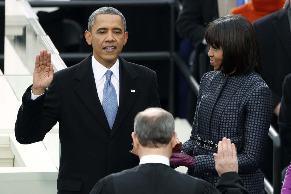 Barack obama sworn in for second term as us president - When is obama out of office ...