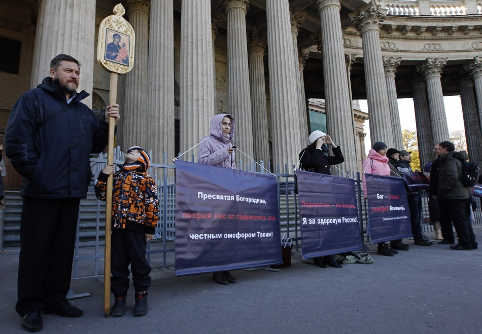 Orthodox supporters protest against homosexuality in front the Kazan cathedral in St. Petersburg