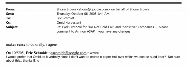 Eric Schmidt Email about hiring policy