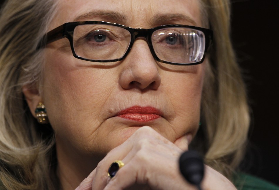 U.S.Secretary of State Hillary Clinton sits down in Washington to testify on the September attack