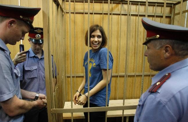 Nadezhda Tolokonnikova jokes at her trial (Reuters)