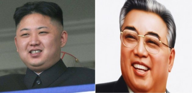 Kim Jong-un and Kim Il-sung