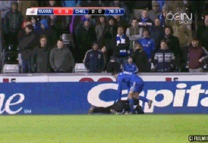 Eden Hazard Kicks Swansea City Ballboy Charlie Morgan