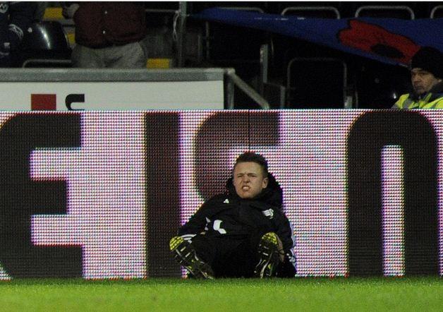 Charlie Morgan after getting kicked by Eden Hazard