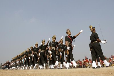 Indian soldiers march during the Republic Day parade in the southern Indian city of Hyderabad January 26, 2013.