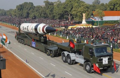 A surface-to-surface Agni V missile is displayed during the Republic Day parade in New Delhi January 26, 2013.