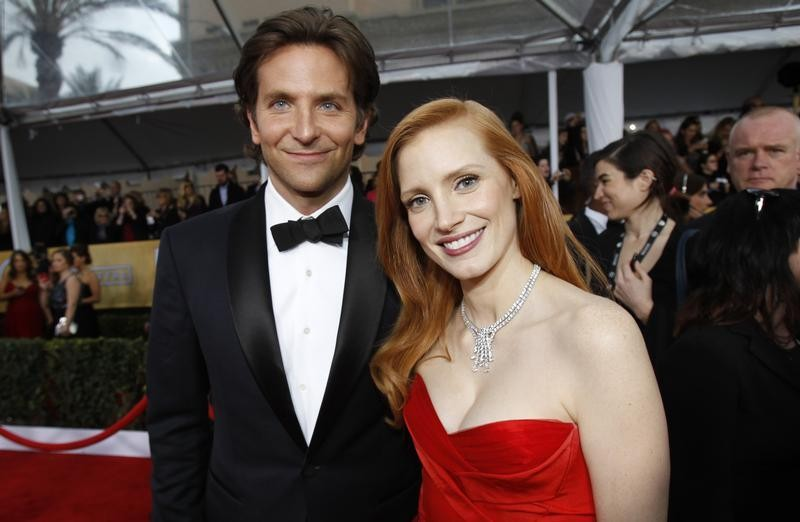 Actor Bradley Cooper L and actress Jessica Chastain arrive at the 19th annual Screen Actors Guild Awards in Los Angeles, California