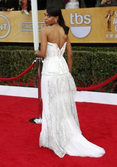 Actress Kerry Washington, from the film Django Unchained, arrives at the 19th annual Screen Actors Guild Awards in Los Angeles, California