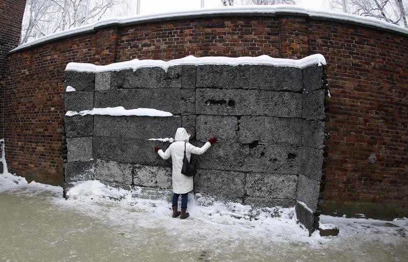 A Japanese visitor touches the death wall at the Auschwitz concentration camp January 27, 2013. A ceremony to mark the 68th anniversary of the liberation of Auschwitz by Soviet troops and to remember the victims of the Holocaust was held in Auschwitz-Birk