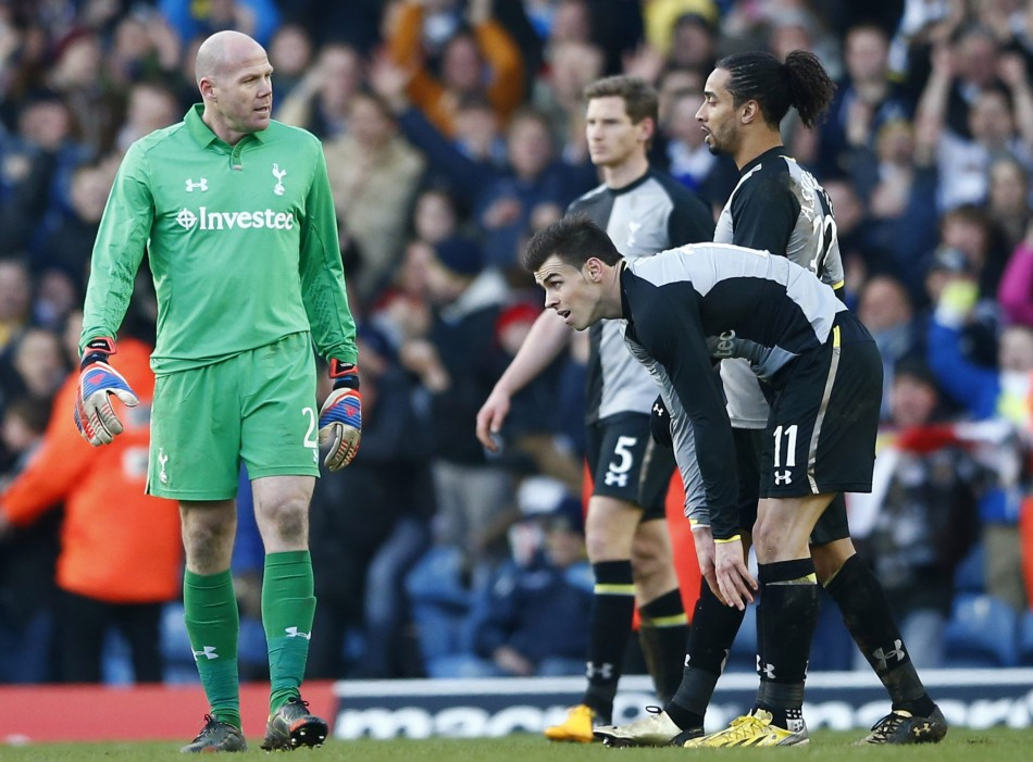 Tottenham players react after losing to Leeds