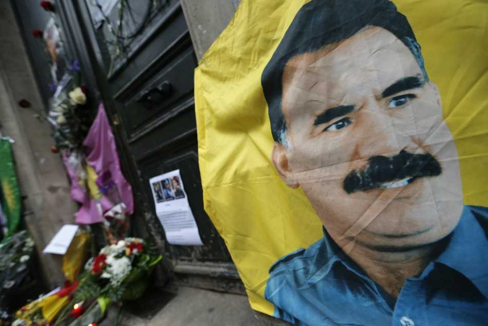 A flag with the portrait of jailed Kurdistan Workers Party (PKK) leader Abdullah Ocalan