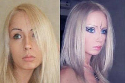 Valeria Lukyanova with and without make-up