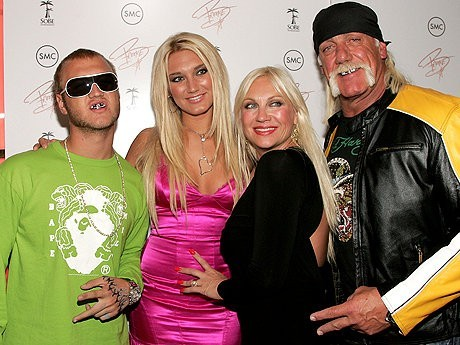 Hulk Hogan and family. Brooke, legs unexposed, is second left