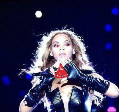The illuminati turned off the lights , Beyonce throwed the sign up then gave the eye signal,JosephG