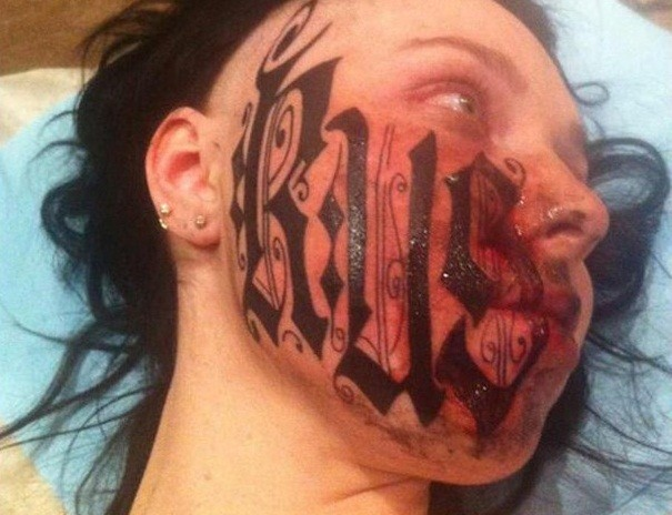 Rouslan Toumaniantz tattooed his name on his girlfriend's face less than 24 hours after meeting her (BME)