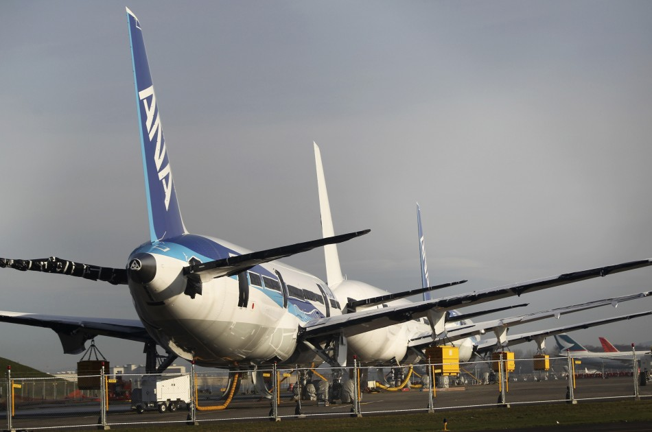 Boeing 787 Dreamliner jets sitting idle in Everett