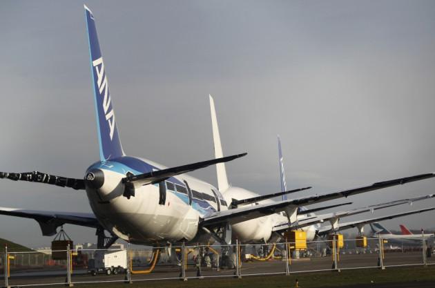 Boeing 787 Dreamliner jets sitting idle in Everett