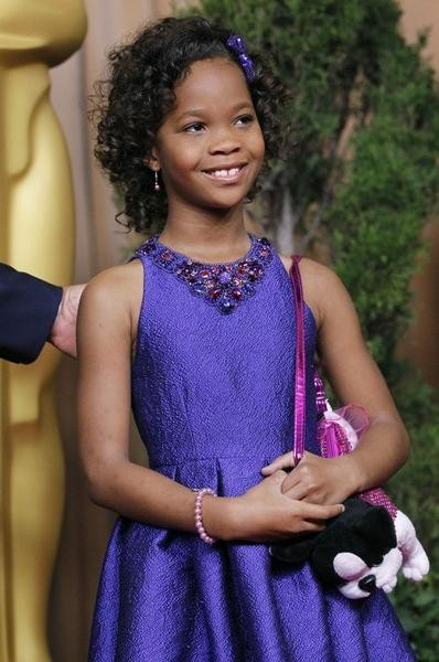 Quvenzhane Wallis, nominated for best actress for her role in Beasts of the Southern Wild, poses  at the 85th Academy Awards nominees luncheon in Beverly Hills, California