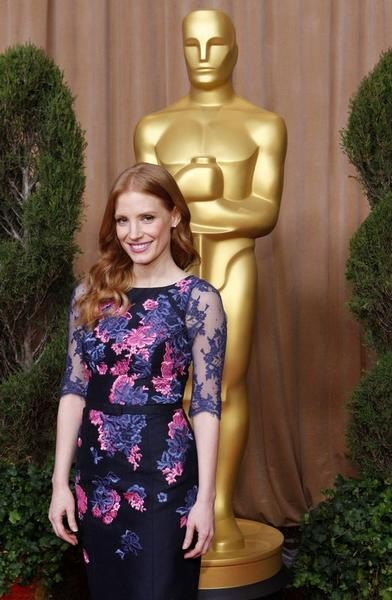 Jessica Chastain, nominated for best actress for her role in Zero Dark Thirty, arrives at the 85th Academy Awards nominees luncheon in Beverly Hills, California