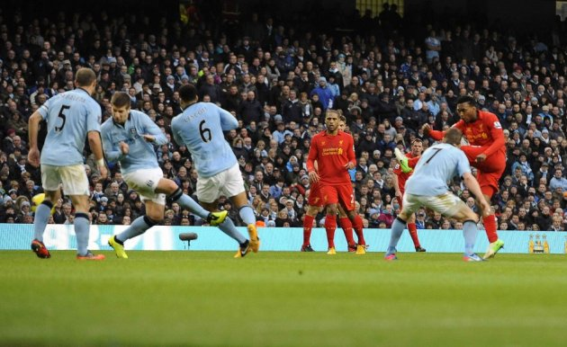 Daniel Sturridge scores against Man City