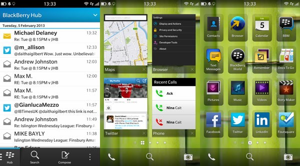 BlackBerry 10 home screens & Hub