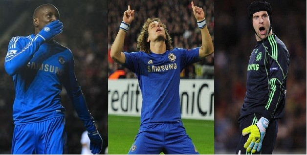 Demba Ba, David Luiz and Petr Cech