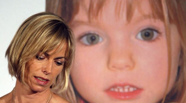 Kate McCann with Madeleine image behind