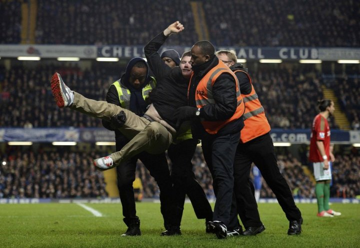 Pitch invasion at Stamford Bridge