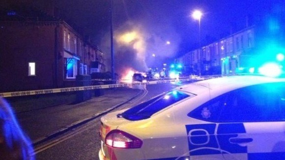 The scene on Leigh Road in Salford following the crash (Twitter/@Rob_Sidlow)