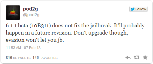 iOS 6.1.1 Beta Release: Pod2g Confirms New Update Does Not Patch evasi0n Jailbreak