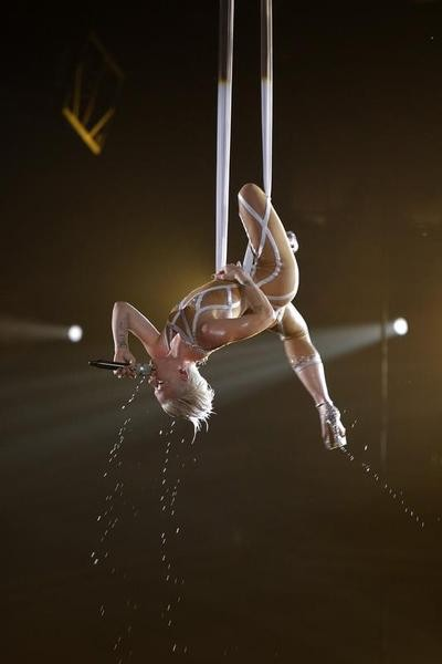 Pink performs Glitter in the Air at the 52nd annual Grammy Awards in Los Angeles January 31, 2010.