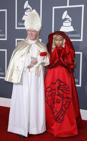 Hip hop artist Nicki Minaj arrives  at the 54th annual Grammy Awards in Los Angeles, California February 12, 2012.