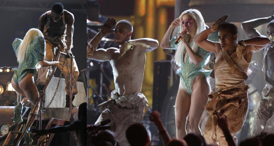 Lady Gaga performs Poker Face at the start of the 52nd annual Grammy Awards in Los Angeles January 31, 2010.