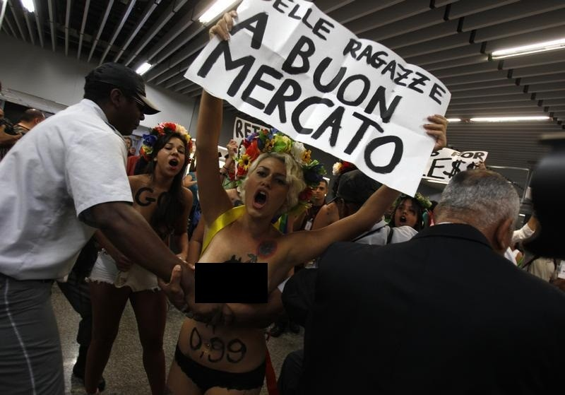 Topless Rio protesters