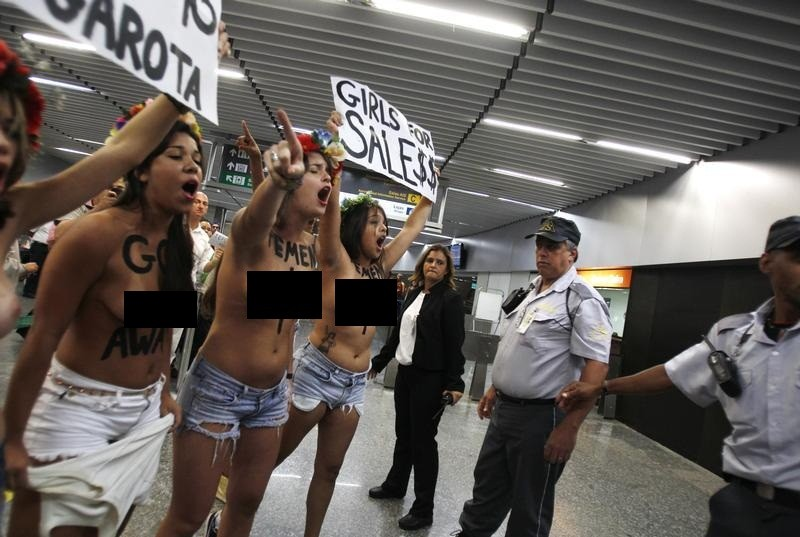 Activists from the Kiev based feminist protest group Femen