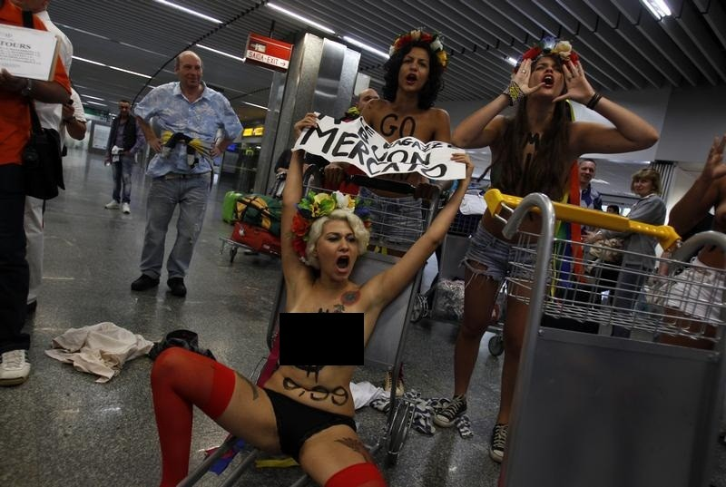 Activists from the Kiev-based feminist protest group Femen